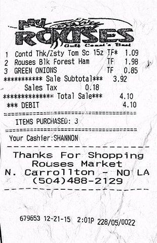 Rouse's Receipt 12-21