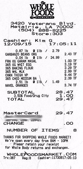 Whole Foods Receipt 12-9