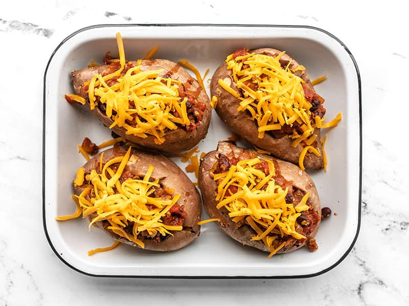 Sweet potatoes topped with cheddar
