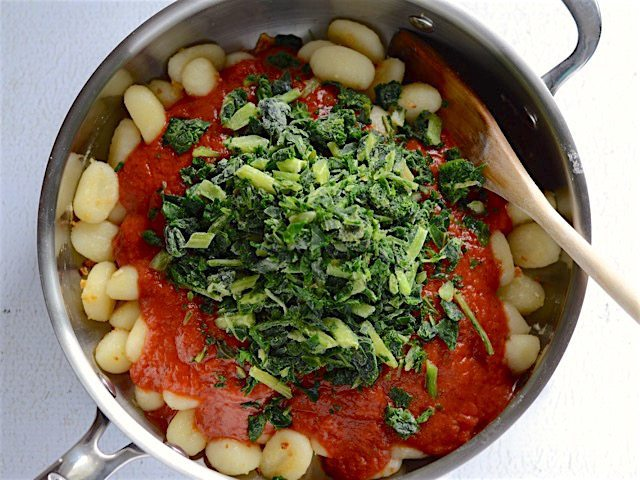 Add Pasta Sauce and Greens