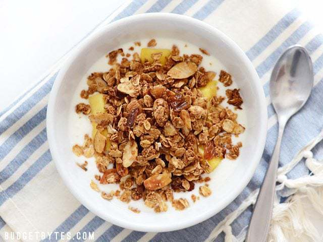 Overhead view of a bowl of Homemade Gingersnap Granola with yogurt, pineapple, and honey