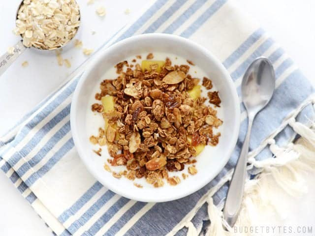 Overhead view of a bowl full of Gingersnap Granola and yogurt, a measuring cup with dry oats on the side