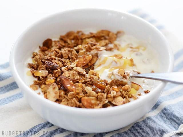 Side view of a bowl of Gingersnap Granola served over yogurt, topped with honey