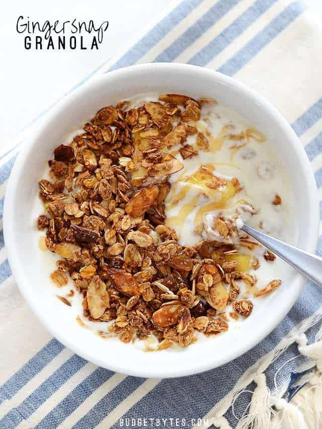 Overhead view of a bowl of yogurt topped with Gingersnap Granola and a drizzle of honey.