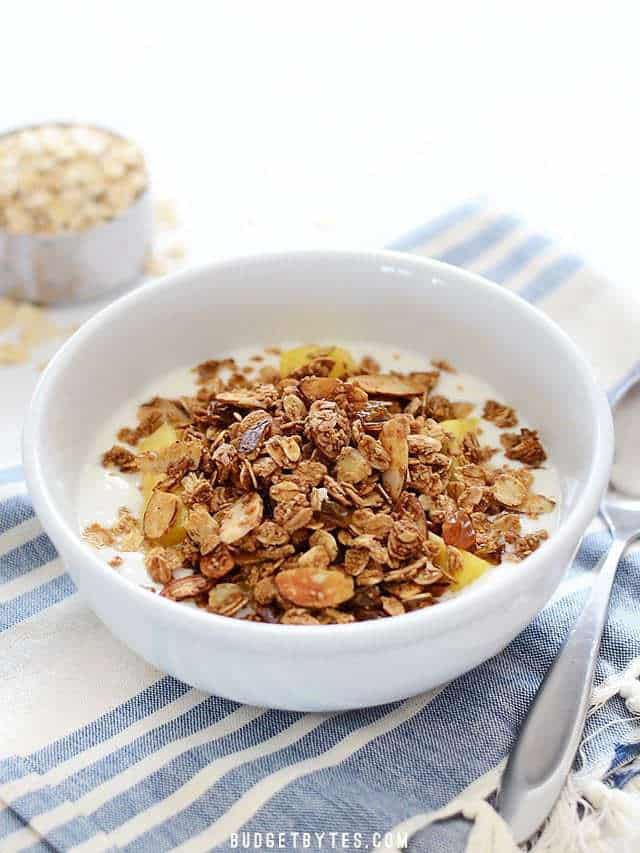 Side view of a bow of Gingersnap Granola with a spoon on the side
