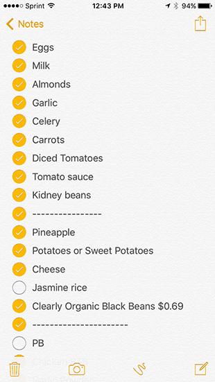 Grocery List 12/17