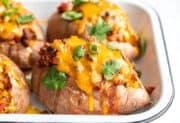 Turkey Chili Smothered Sweet Potatoes