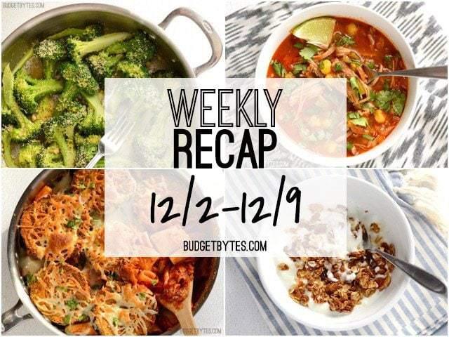 Weekly Recap 12/2 to 12/9 - BudgetBytes.com