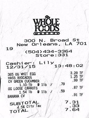 WFM receipt 12/31