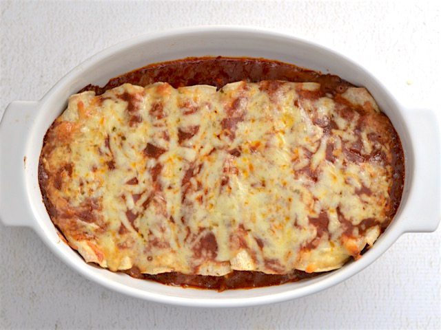 Baked Enchiladas in the casserole dish