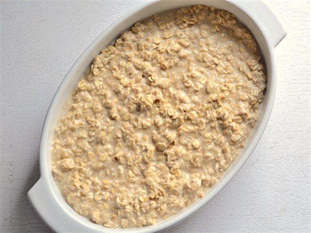 Banana Coconut Baked Oatmeal ready to bake