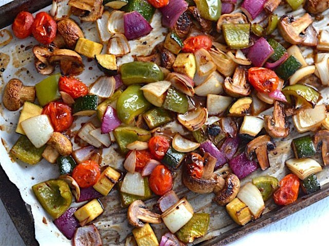 Colorful Broiled Balsamic Vegetables on the baking sheet, overhead
