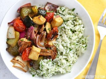 Broiled Balsamic Vegetables with Lemon Parsley Rice - BudgetBytes.com