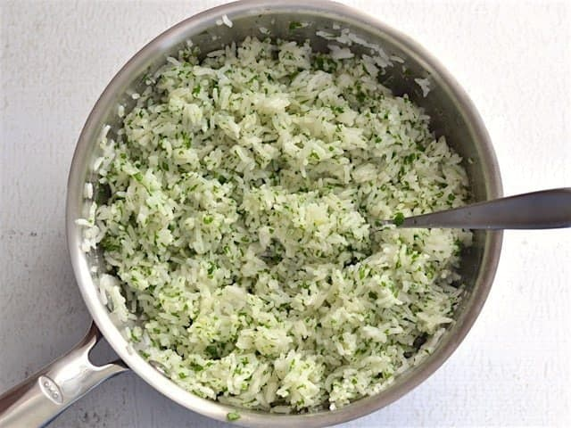 Fold Lemon Parsley Mix into Rice
