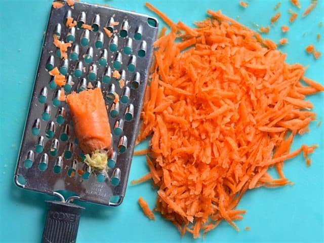 Grated Carrot on a large-holed cheese grater