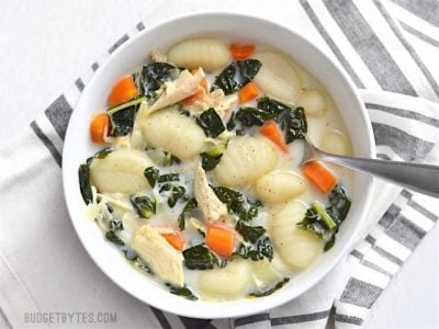 Kale Chicken and Gnocchi Soup - BudgetBytes.com