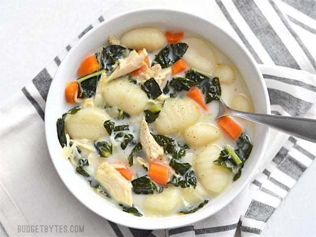 Kale Chicken and Gnocchi Soup - BudgetBytes.com