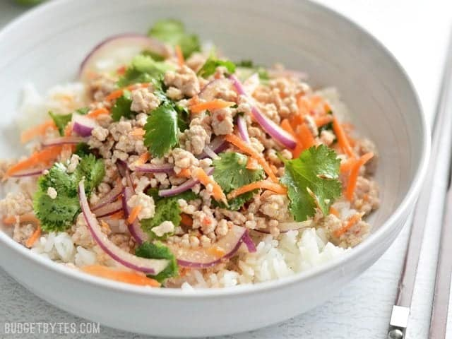 close up side view of a bowl of nam sod (Thai Pork Salad) over a bed of rice, chopsticks on the side
