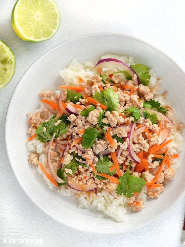 Nam Sod Thai Pork Salad - BudgetBytes.com