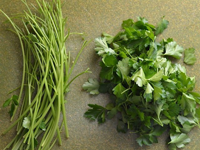 Parsley Leaves pulled from the stems