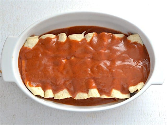 Sauce Covered Enchiladas