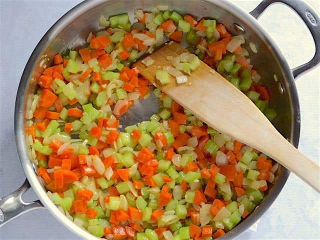 Sautéed Carrots and Celery in the skillet