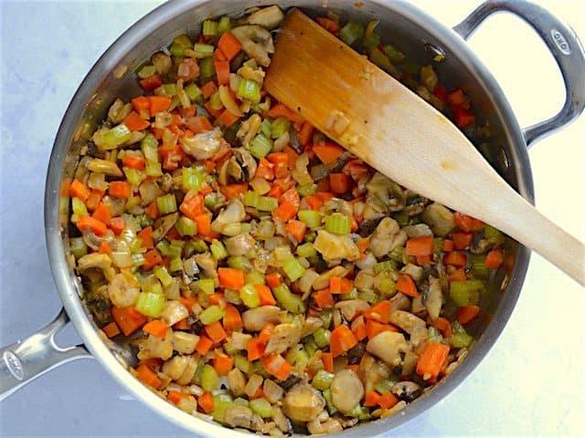 Sautéed Mushrooms and Seasonings in the skillet