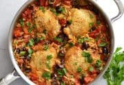 Skillet Chicken with Orzo and Olives