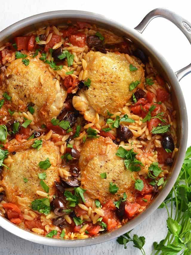 Skillet Chicken with Orzo and Olives - BudgetBytes.com