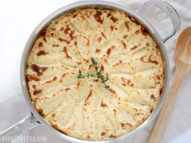 Finished Vegetarian Shepherd's Pie - BudgetBytes.com