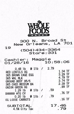 Whole Foods Receipt 1-28