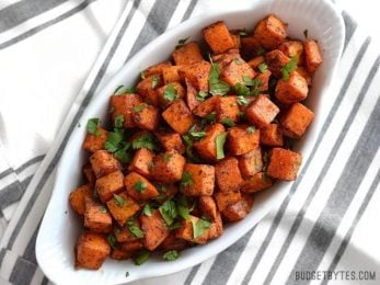 Chili Roasted Sweet Potatoes - BudgetBytes.com