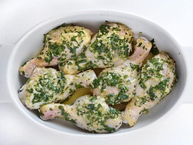 Cilantro Lime Chicken Drumsticks ready to bake