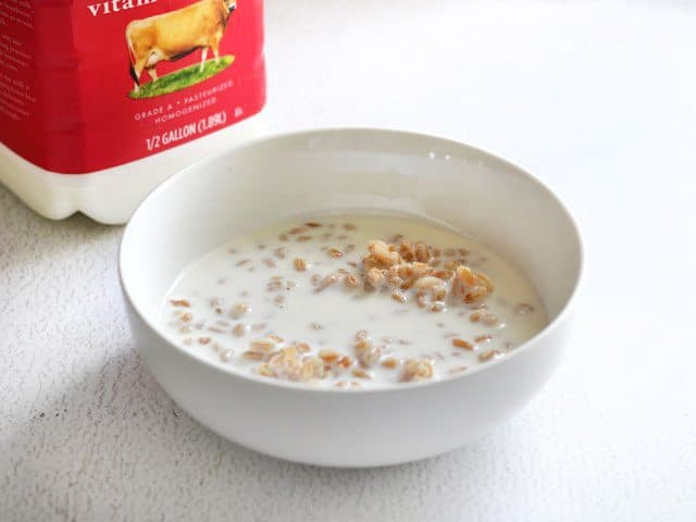 Farro and Milk in a bowl