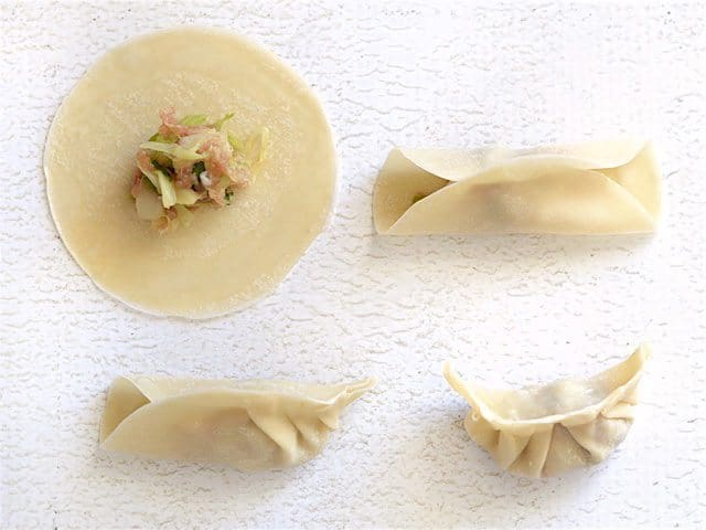 Fill and Fold Gyoza demonstrated in four steps with four wonton wrappers.