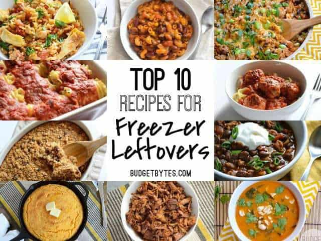 Thumbnails of freezer friendly recipes with blog post title text in the center.