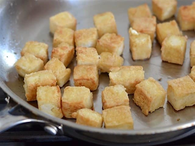 Golden Brown Pan Fried Tofu for Pan Fried Sesame Tofu with Broccoli - BudgetBytes.com