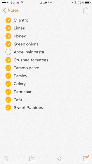 Grocery List 2-19
