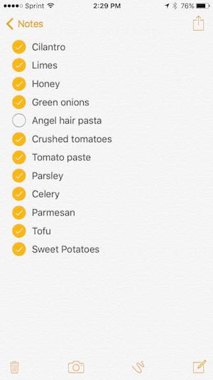 Grocery List 2-19