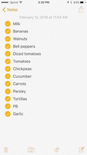Grocery List 2-12