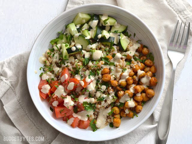 Mediterranean Farro Salad with Spiced Chickpeas - BudgetBytes.com