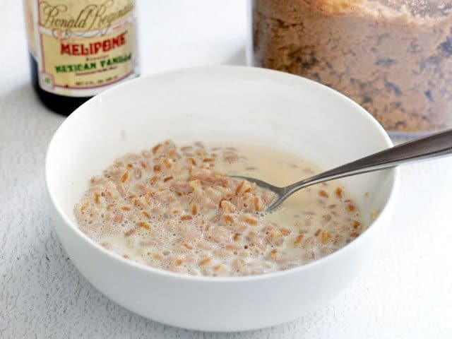 heated Farro and milk in a bowl