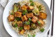 Pan Fried Sesame Tofu with Broccoli