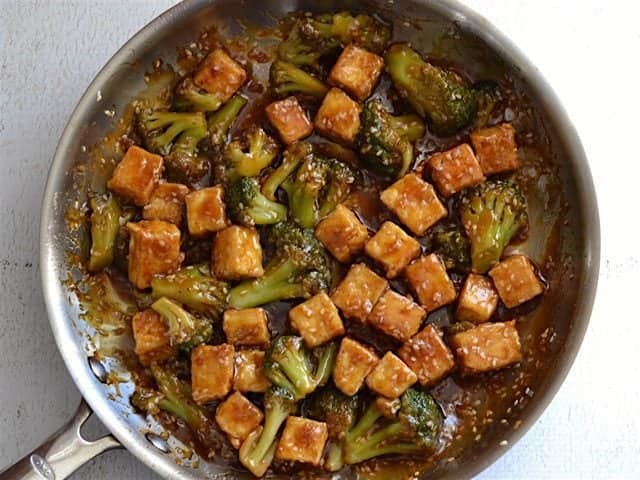 Sauced Tofu and Broccoli for Pan Fried Sesame Tofu with Broccoli - BudgetBytes.com