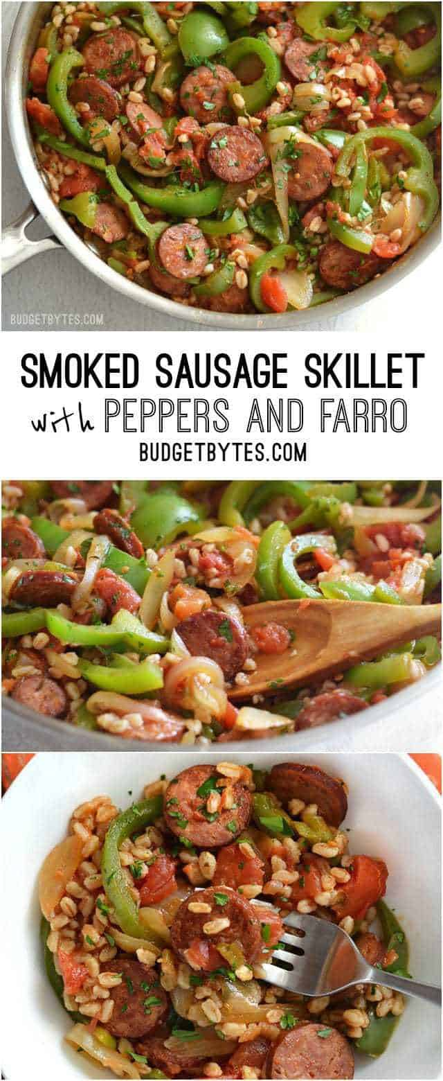 Smoked Sausage Skillet with Peppers and Farro - BudgetBytes.com