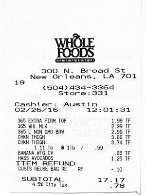Whole Foods Receipt 2-26-16
