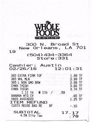 Whole Foods Receipt 2-26-16