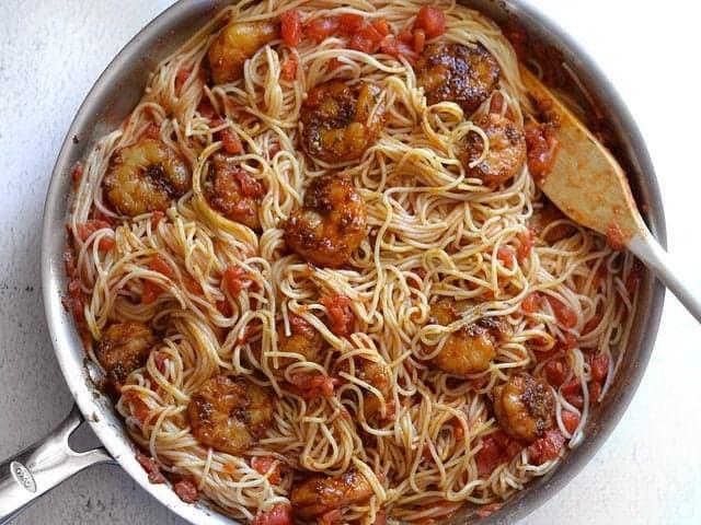 Add Shrimp back to skillet