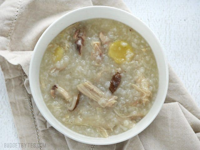 Bare bowl of Congee with no toppings