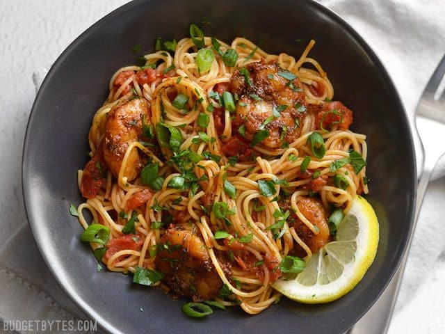 Blackened Shrimp Pasta in a bowl seen from above